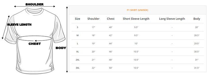 F1 Uniform Unisex Size Chart