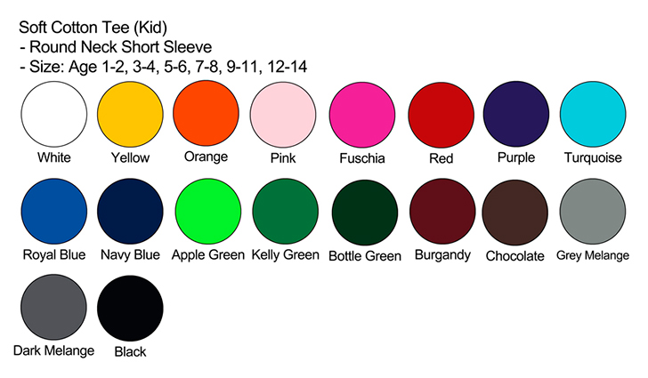Kids Short Sleeve Cotton Tee Color Chart
