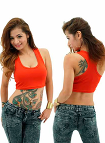 Ladies Midriff X-Back Printing