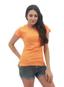 Orange Ladies Soft Cotton Tee (Ladies Cutting)