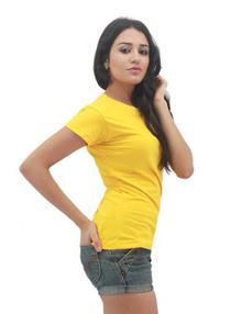 Yellow Ladies Soft Cotton Tee (Ladies Cutting)
