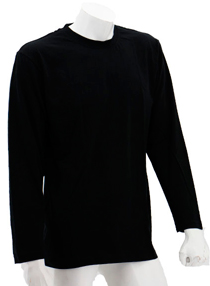 Black Long Sleeve Soft Cotton Tee (Round-Neck)