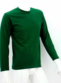 Bottle Green Long Sleeve Soft Cotton Tee (Round-Neck)