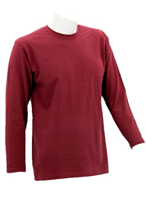 Burgandy Long Sleeve Soft Cotton Tee (Round-Neck)