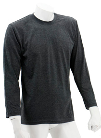 Dark Melange Long Sleeve Soft Cotton Tee (Round-Neck)