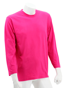 Fuschia Long Sleeve Soft Cotton Tee (Round-Neck)