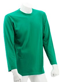 Kelly Green Long Sleeve Soft Cotton Tee (Round-Neck)