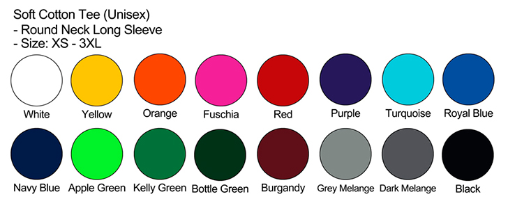 Long Sleeve Color Chart