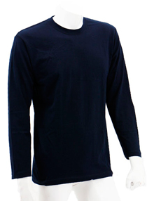 Navy Blue Long Sleeve Soft Cotton Tee (Round-Neck)