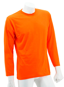Orange Long Sleeve Soft Cotton Tee (Round-Neck)