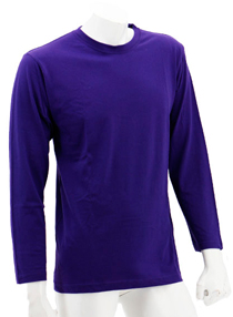 Purple Long Sleeve Soft Cotton Tee (Round-Neck)