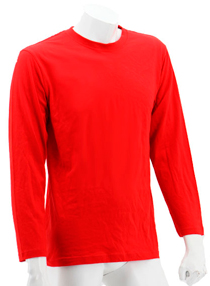 Red Long Sleeve Soft Cotton Tee (Round-Neck)