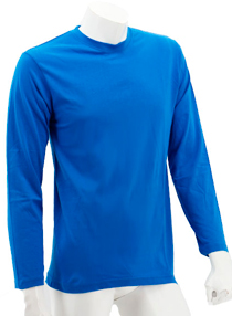 Royal Blue Long Sleeve Soft Cotton Tee (Round-Neck)