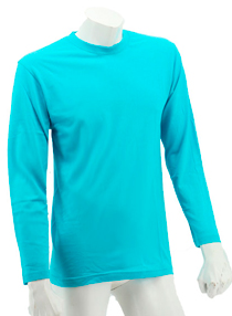 Turquoise Long Sleeve Soft Cotton Tee (Round-Neck)