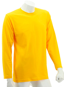 Yellow Long Sleeve Soft Cotton Tee (Round-Neck)