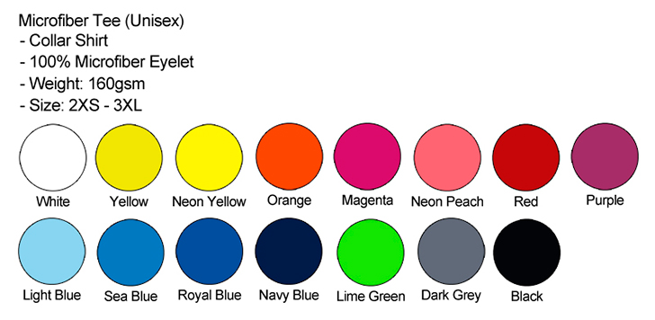 Microfiber Collar Unisex Color Chart