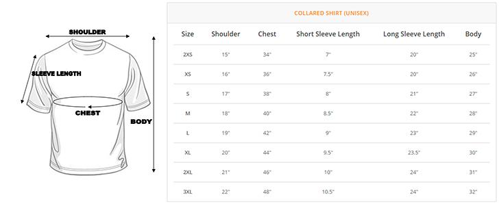 Polo Unisex Size Chart
