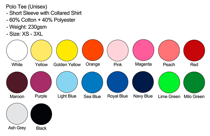 Polo Unisex Color Chart