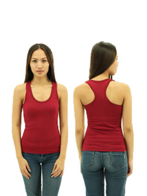 Burgandy Ladies X-Back Soft Cotton Tee