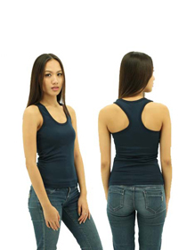 Navy Blue Ladies X-Back Soft Cotton Tee
