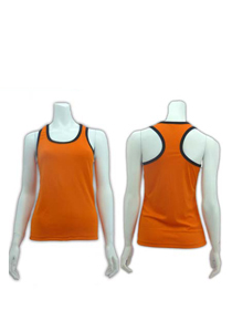 Orange Ladies X-Back with Ribs Soft Cotton Tee