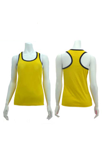 Yellow Ladies X-Back with Ribs Soft Cotton Tee